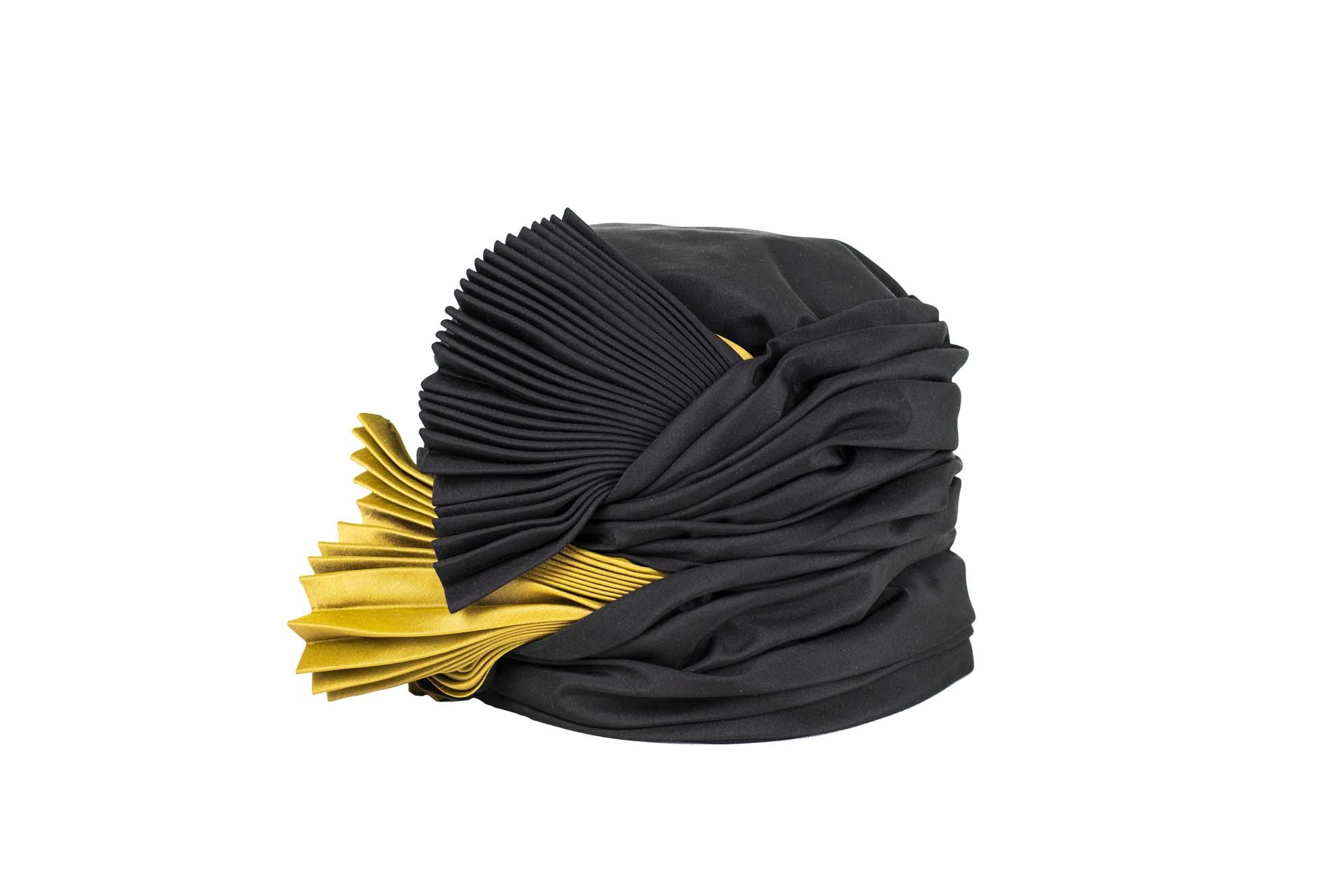 TURBANTE DOPPIO VENTAGLIO AW19/20 silk plissè nero-oro